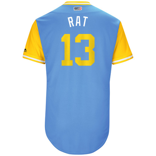 "Photo of Brad ""Rat"" Miller Tampa Bay Rays Game-Used Players Weekend Jersey"