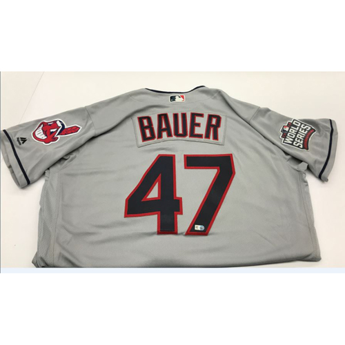 Trevor Bauer Team-Issued 2016 World Series Road Jersey