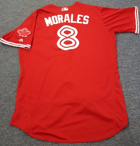 Photo of Authenticated Game Used Jersey - #8 Kendrys Morales. July 30, 2017: 0-for-3 with 1 RBI. Size 50.