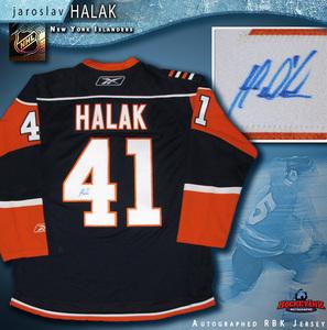 JAROSLAV HALAK Signed New York Islanders Blue Reebok Jersey