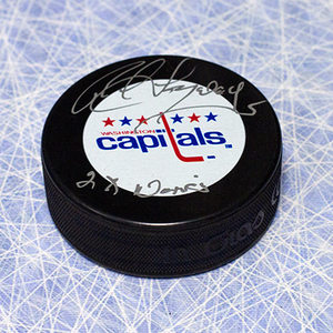 Rod Langway Washington Capitals Autographed Hockey Puck with 2 x Norris Note