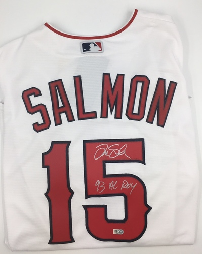"Photo of Tim Salmon ""93 AL ROY"" Autographed White Angels Replica Jersey"