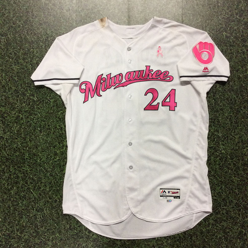 Photo of Jesus Aguilar 2017 Mother's Day Tribute Game-Used Jersey - 3-4, 2 2B, 3B (1st Career), 3 RBI, 2 R (5/13/17 & 5/14/17)