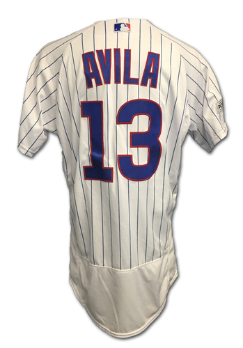 Photo of Alex Avila 2017 Postseason Game-Used Jersey -- 10/11 vs. Nationals: NLDS Game 4 -- 10/17 vs. Dodgers: NLCS Game 3