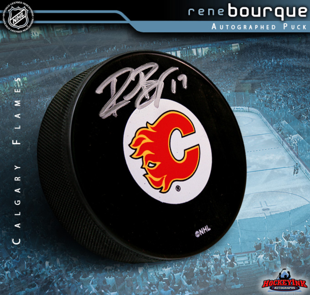 RENE BOURQUE Signed Calgary Flames Puck