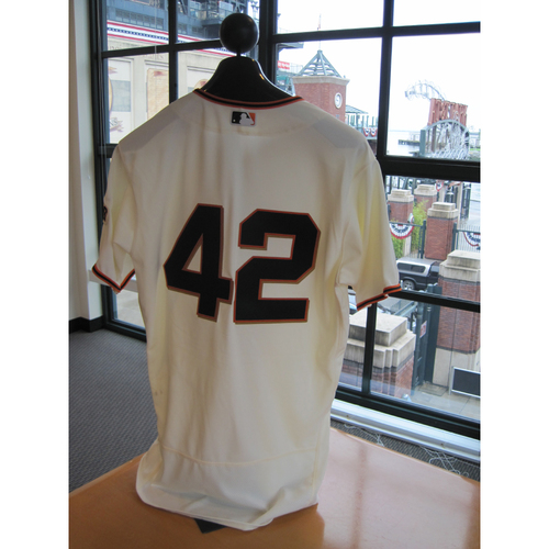 Photo of San Francisco Giants - Game Used - Jackie Robinson Day #42 Jersey - Matt Moore
