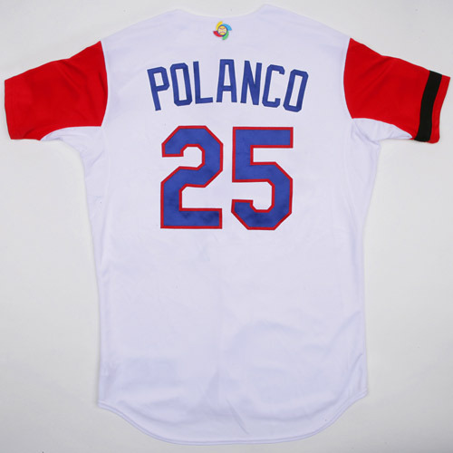 Photo of 2017 WBC Dominican Republic Game-Used Home Jersey, Polanco #25
