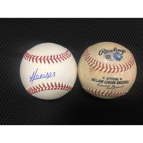 Photo of Yoan Moncada Autographed Baseball and Game-Used Baseball from July 19, 2017 - White Sox Debut