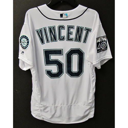 Photo of Mariners Care Hurricane Irma Relief - Nick Vincent Game-Used Marineros Jersey 9-9-2017 Size 46