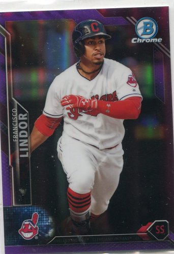 Photo of 2016 Bowman Chrome Purple Refractors #32 Francisco Lindor -- Indians post-season