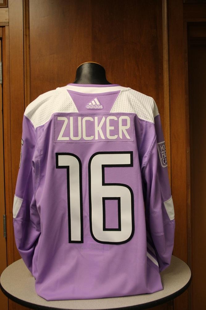 Jason Zucker Minnesota Wild 2017 Hockey Fights Cancer Night Warm-Up Jersey (Size 54)