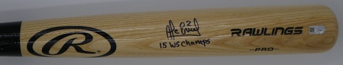 """Photo of Alcides Escobar """"15 WS Champs"""" Autographed Blonde Rawlings Bat"""