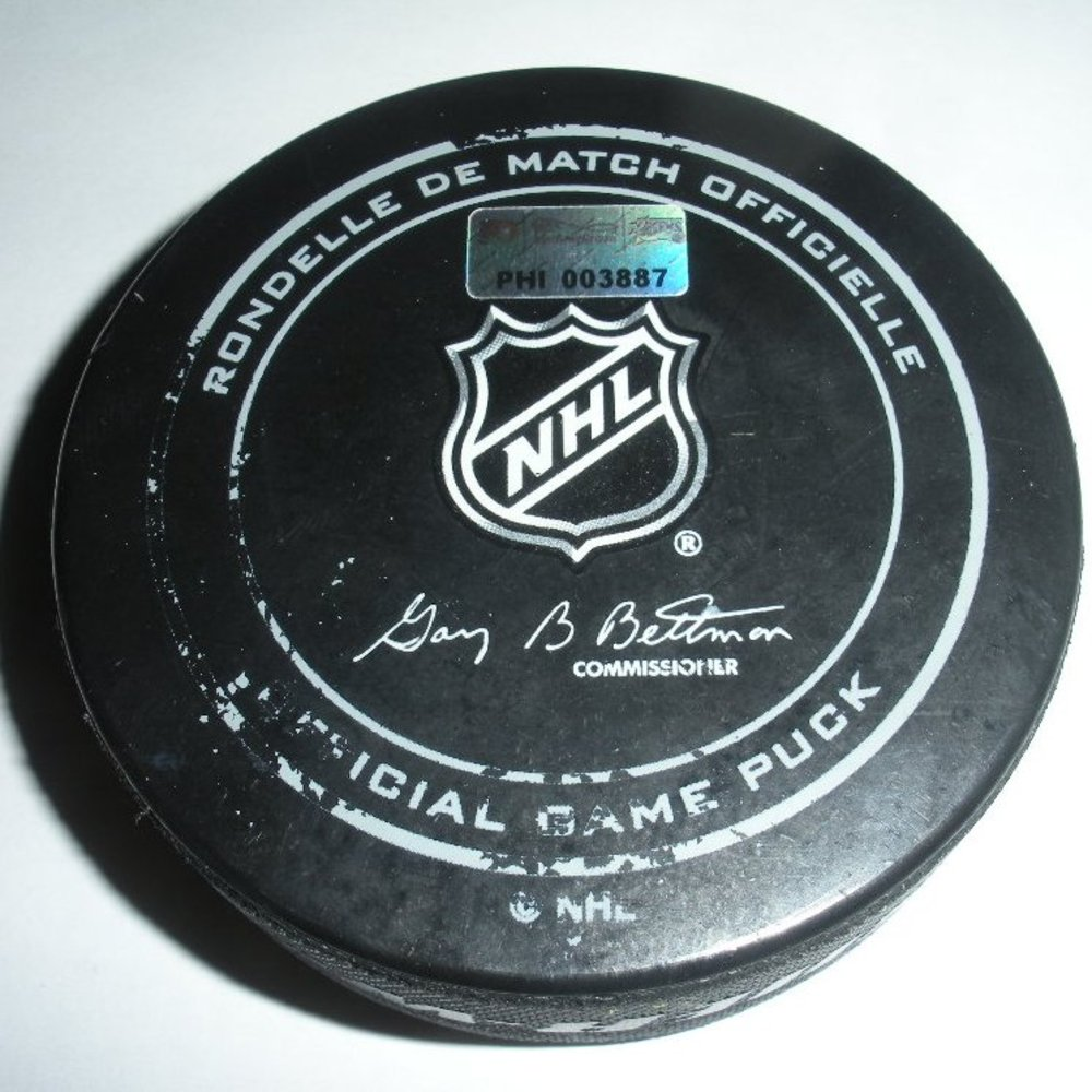 Patrice Bergeron - Boston Bruins - Goal Puck - January 25, 2014 (Flyers Logo)