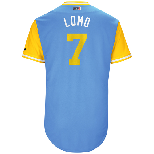 """Photo of Logan """"Lomo"""" Morrison Tampa Bay Rays Game-Used Players Weekend Jersey"""