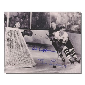 Al Arbour (Detroit Red Wings) and Ted Lindsay (Chicago Blackhawks) Autographed 8x10 Photo