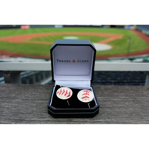 Game-Used Baseball Earrings (Perez Double)