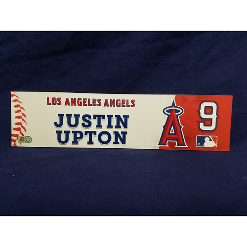 Photo of Justin Upton Game-Used Clubhouse Locker Tag