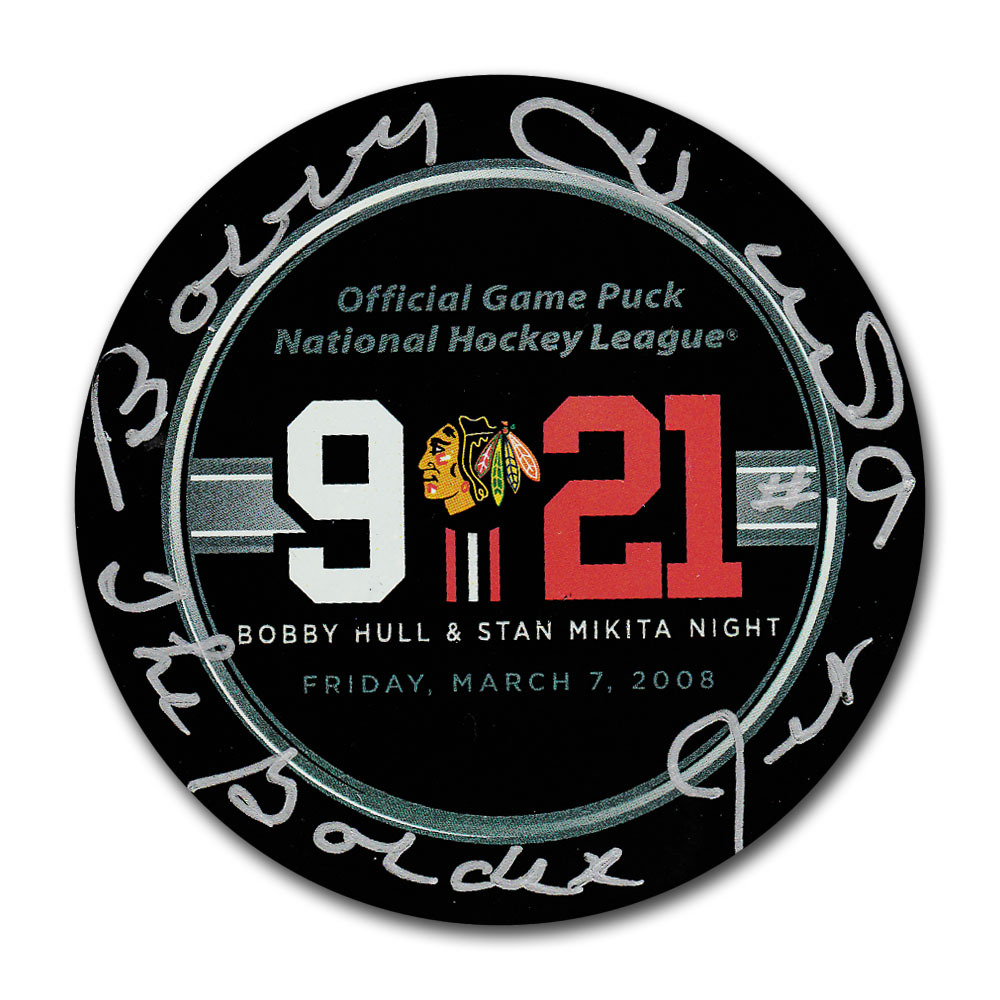 Bobby Hull Autographed Chicago Blackhawks Hull & Mikita Night Official Game Puck w/THE GOLDEN JET Inscription