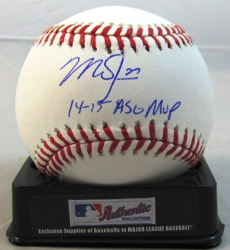 "Photo of Mike Trout Autographed ""14-15 ASG MVP"" Baseball"