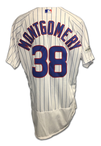 Photo of Mike Montgomery 2017 Postseason Game-Used Jersey -- 10/11 vs. Nationals: NLDS Game 4 -- 10/17 vs. Dodgers: NLCS Game 3