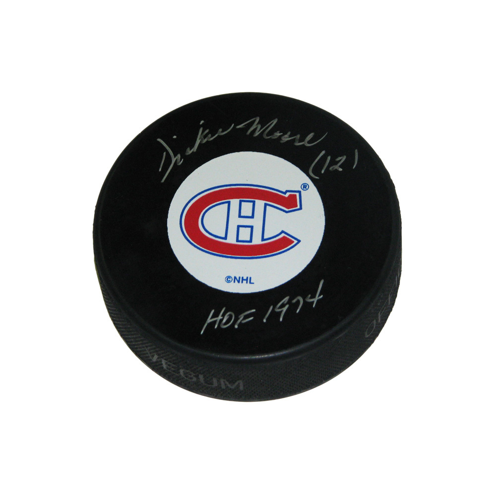 DICKIE MOORE Signed Montreal Canadiens Original 6 Logo Puck with HOF inscription