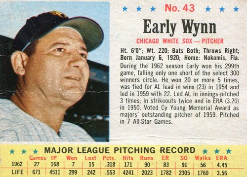 Photo of 1963 Post #43 Early Wynn -- scrapbook residue on back