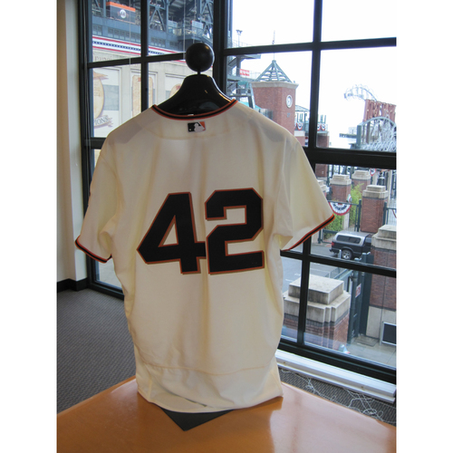 Photo of San Francisco Giants - Game Used - Jackie Robinson Day #42 Jersey - Hunter Pence