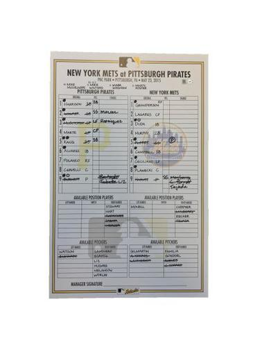 Photo of Replica Lineup Card from Pirates vs. Mets on 5/23/15