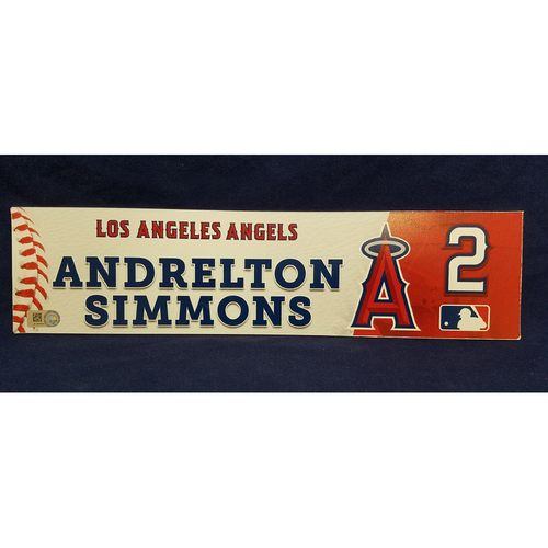 Photo of Andrelton Simmons Game-Used Clubhouse Locker Tag