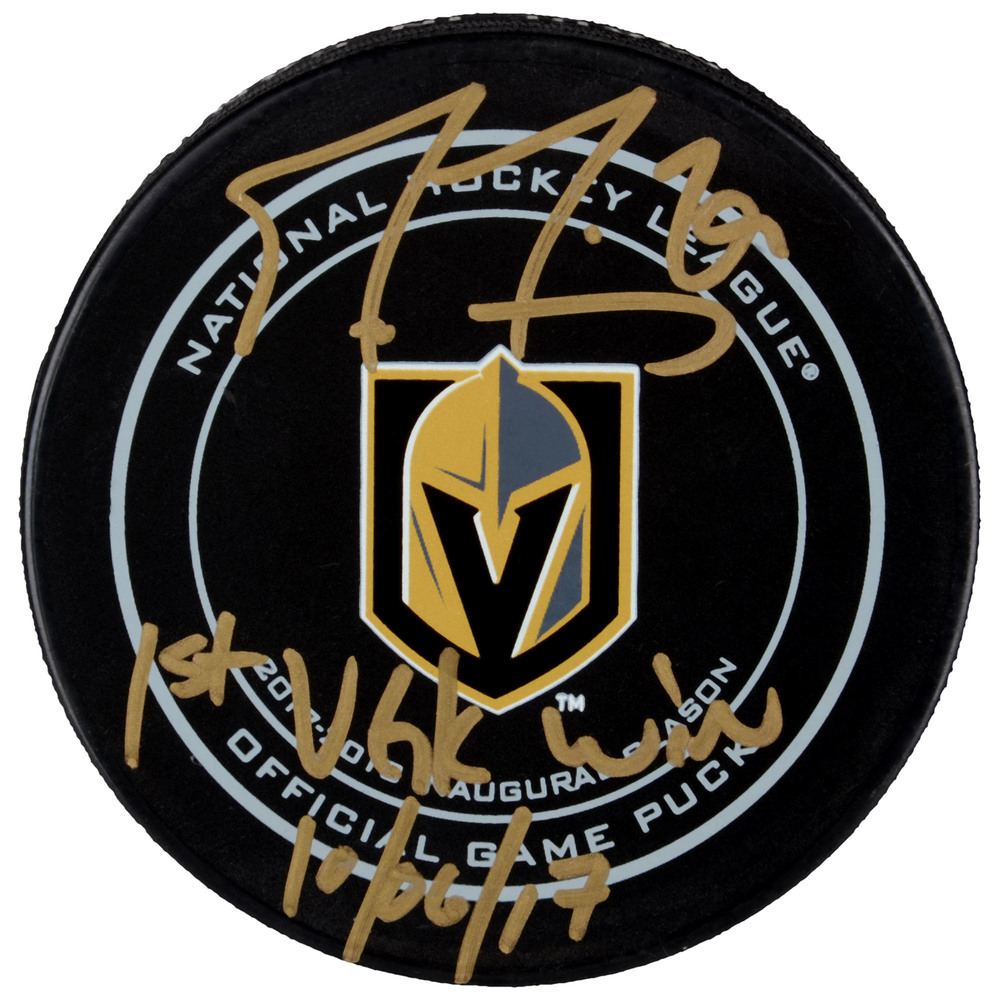 Marc-Andre Fleury Vegas Golden Knights Autographed Official Game Puck with 1st VGK Win 10/6/17 Inscription