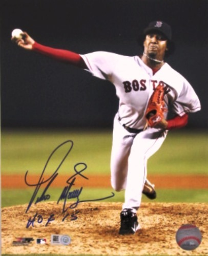 "Photo of Pedro Martinez ""HOF 15"" Autographed Red Sox 8x10"