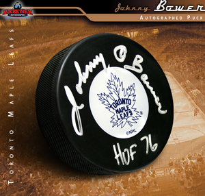 JOHNNY BOWER Signed Toronto Maple Leafs Puck