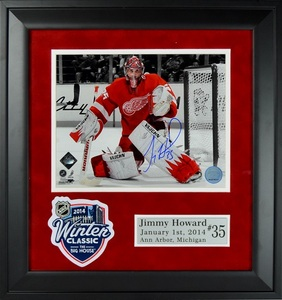 JIMMY HOWARD Signed Detroit Red Wings 8x10 Photo Framed with 2014 NHL Winter Classic Patch