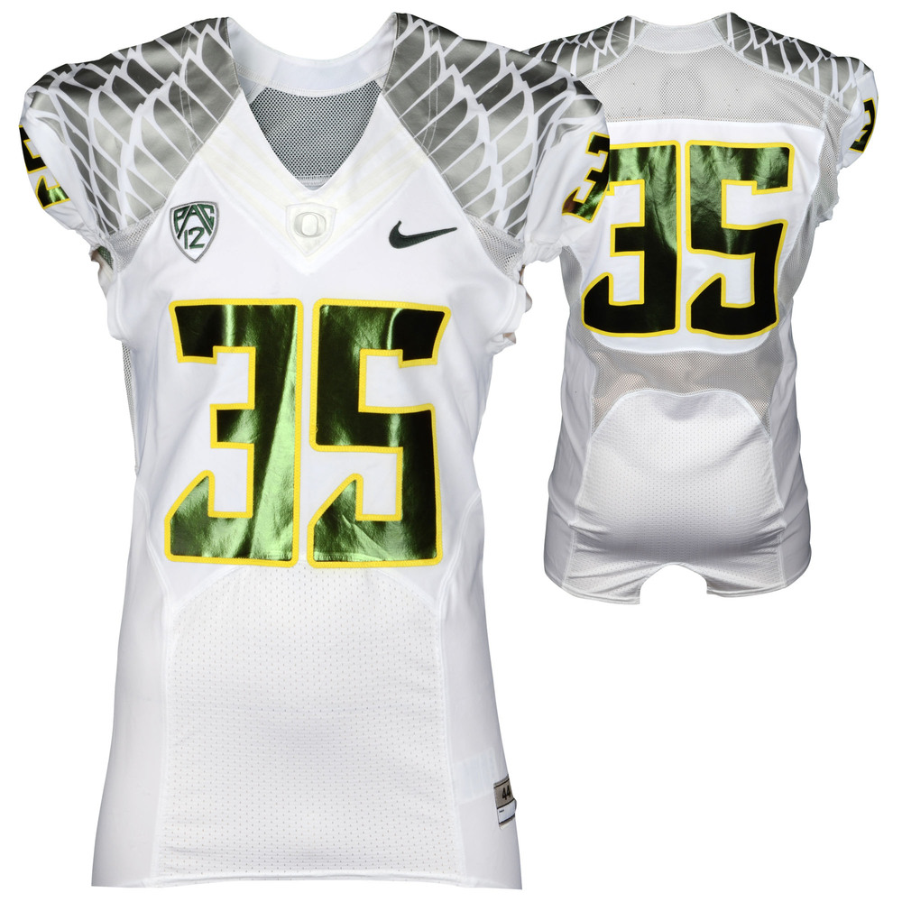 Oregon Ducks Game-Used 2012-2013 White, Yellow Trim, and Metallic Green Jersey #35 - Size 44