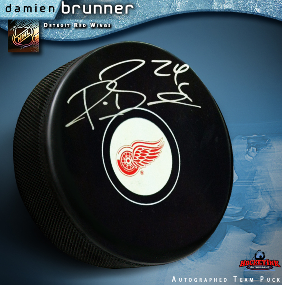 DAMIEN BRUNNER Signed Detroit Red Wings Puck