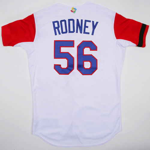 Photo of 2017 WBC Dominican Republic Game-Used Home Jersey, Rodney #56