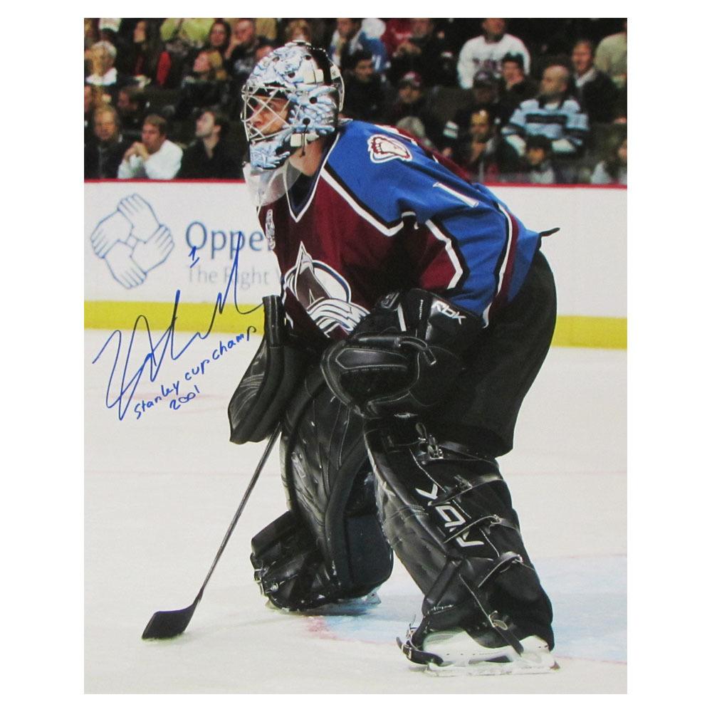 David Aebischer Autographed Colorado Avalanche 16X20 Photo w/Stanley Cup Champ 2001 Inscription