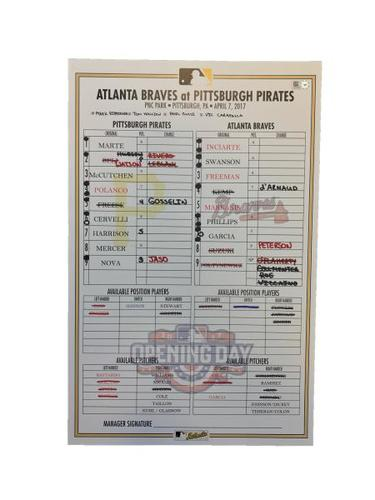 Photo of Replica Lineup Card from Pirates vs. Braves on 4/7/17 - Home Opener