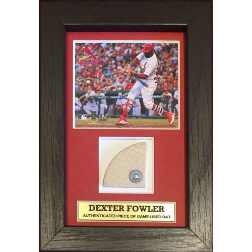 Cardinals Authentics: Dexter Fowler Plaque with Game Used Bat Swatch