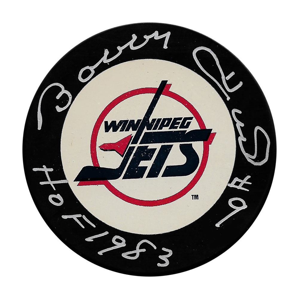 Bobby Hull Autographed Winnipeg Jets Puck w/HOF 1983 Inscription