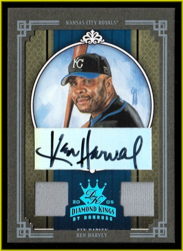 Photo of 2005 Diamond Kings Signature Materials Framed Green Platinum #351 Ken Harvey Jsy-Jsy