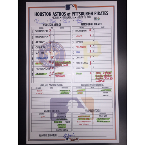 Photo of Astros at Pirates, August 24, 2016, Game-Used Lineup Card