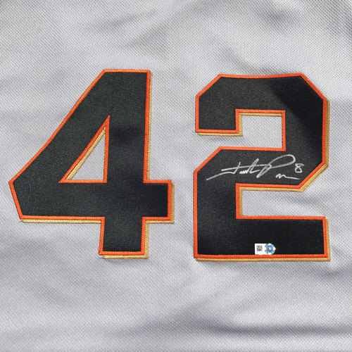 Photo of San Francisco Giants - 3x All-Star Hunter Pence - Autographed and Game Used #42 Jersey - Worn 4/15/16 - 1-4, RBI