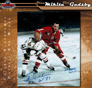 STAN MIKITA and BILL GADSBY Signed Chicago Blackhawks and Detroit Red Wings 8 X 10 Photo - 70404