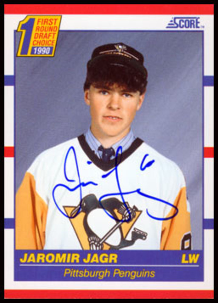 1990 Score #428 Jaromir Jagr Autographed Rookie Card - Pittsburgh Penguins