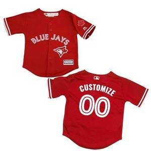 Toronto Blue Jays Toddler Customizable Cool Base Replica Alternate Red Jersey by Majestic