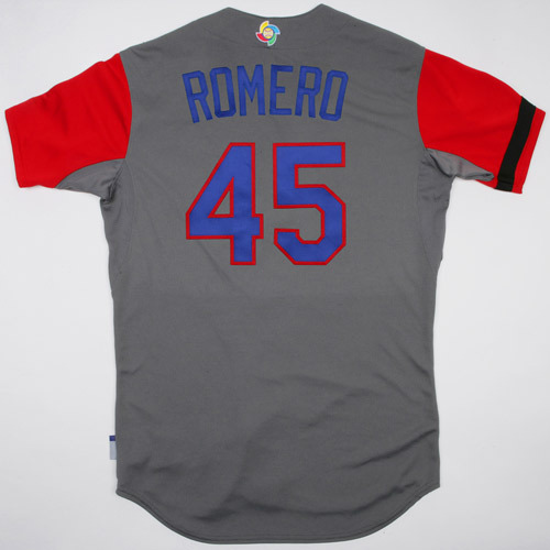Photo of 2017 WBC Dominican Republic Game-Used Road Jersey, Romero #45