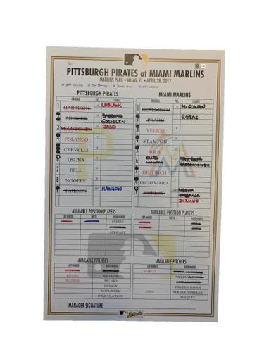 Photo of Replica Lineup Card from Pirates vs. Marlins on 4/28/17 - Ngoepe First MLB Start