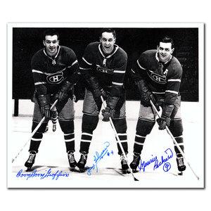 Maurice Richard, Bernie Geoffrion & Jean Beliveau Montreal Canadiens Legends Autographed 8x10