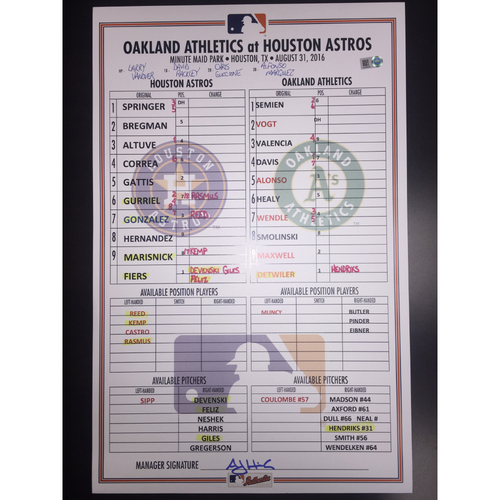 Photo of Astros vs Athletics, August 31, 2016, Game-Used Lineup Card